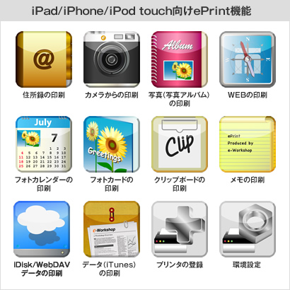 iPad/iPhone/iPod touch向けePrint機能